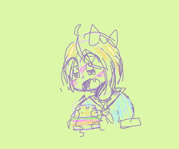 anime girl eating hamburger