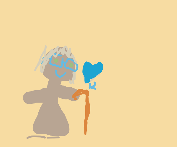 Old woman says ILY to her cane