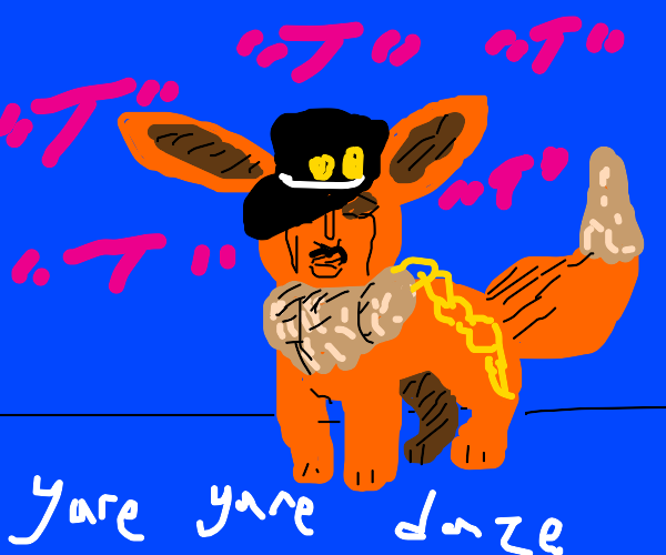 Eevee cosplaying Jotaro