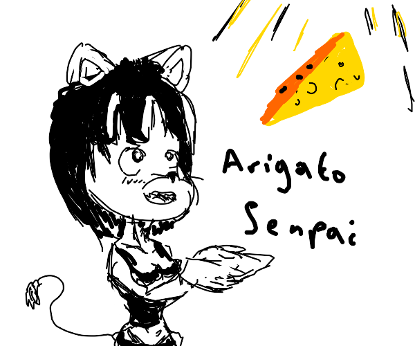 Mouse thanks senpai for good cheese