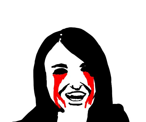 black eyed child crying blood :)