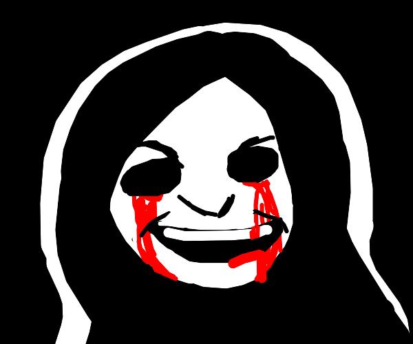 creepy doll bleeding from her eyes