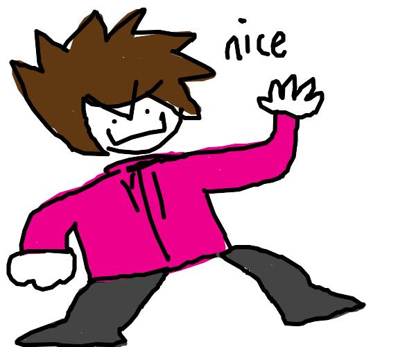 guy brown hair pink hoodie grey pants nice