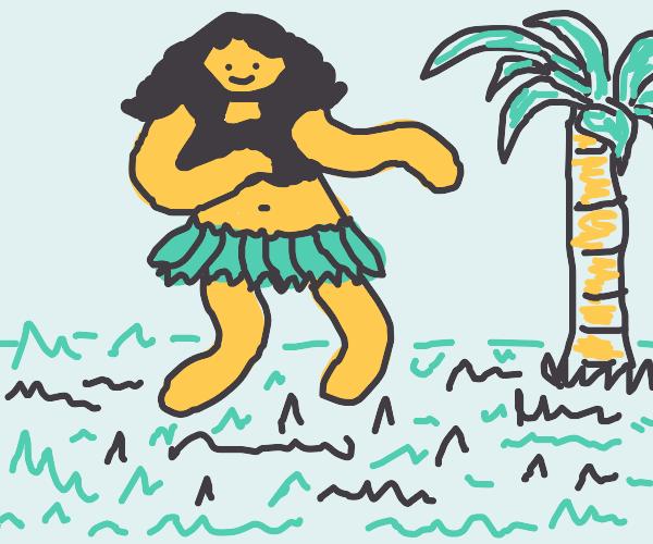 A Hawaiian hula ballerina girl