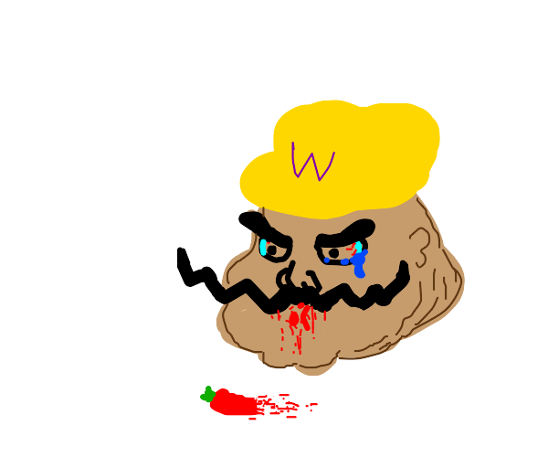 Wario regrets eating that hot pepper