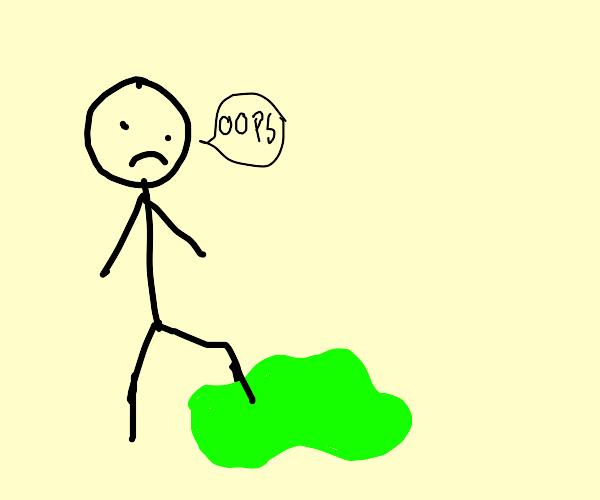 Stick figure steps into acid puddle