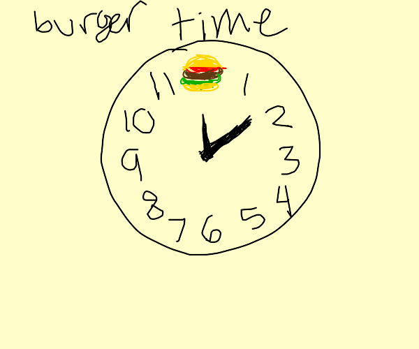 Clock but 12 is a burger.
