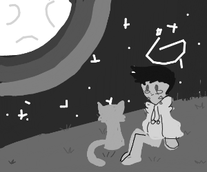sad man crying, feeding cat in moonlight