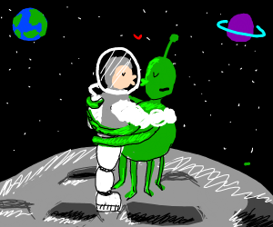 space man in space and kiss alien