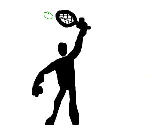 Guy playing tennis