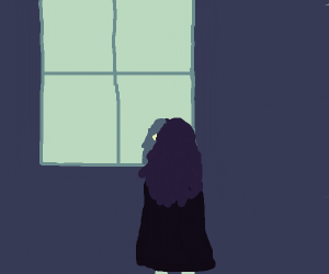 She saw herself in the window
