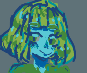 Girl wi th green hair