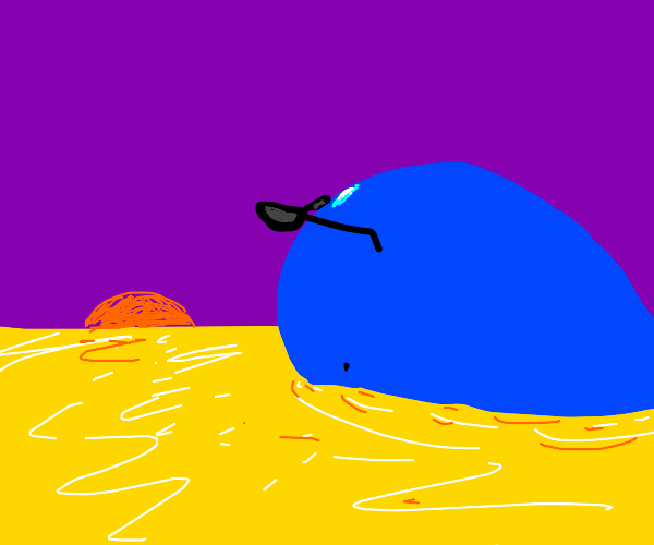 whale with sunglasses swims in yellow sea