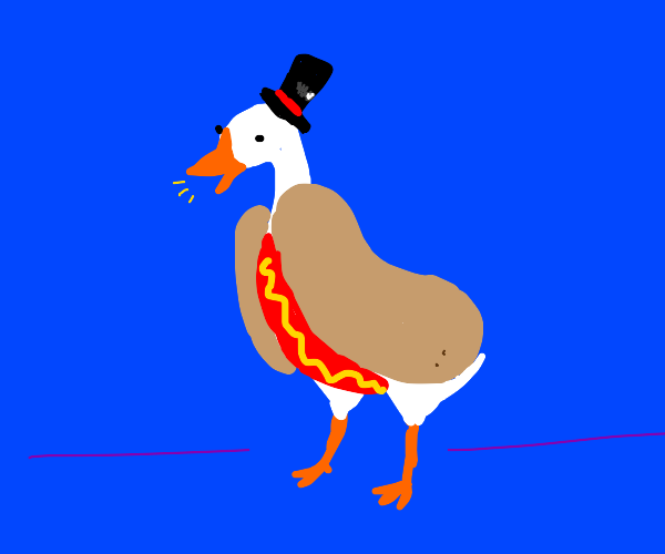Goose with pretty hat dressed as a hotdog