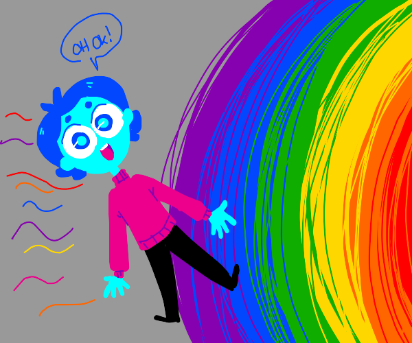 Blue person entering gay rainbow portal void