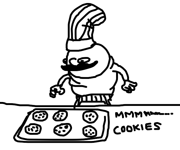 a chef looking at cookies