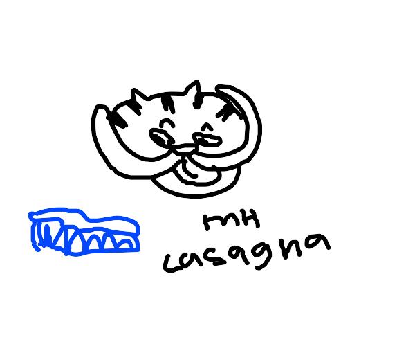 garfield looks lovingly at blue lasagna