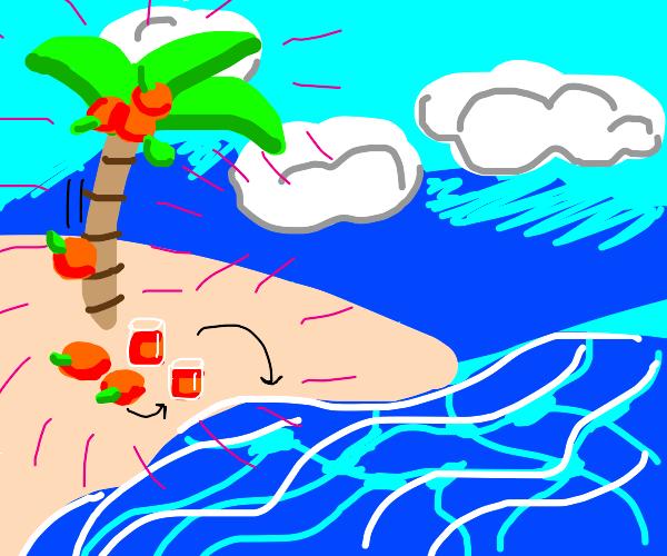 palm tree produces orange juice, makes water?