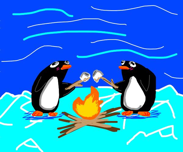 2 Penguins roasting a marshmellow