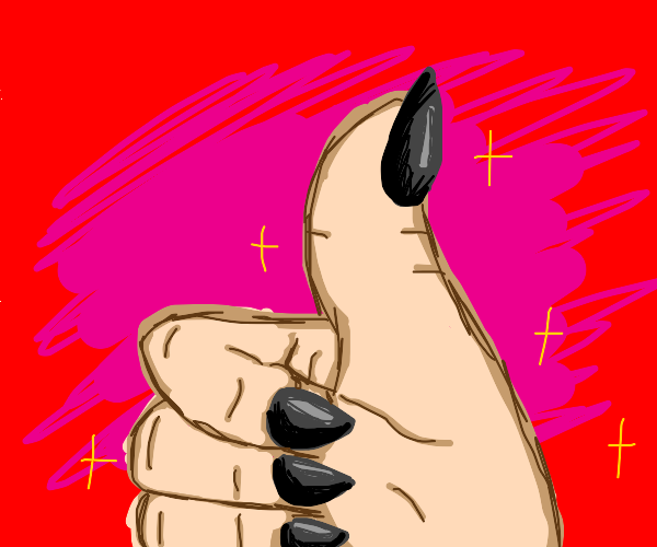 giving a thumbs up with black nail polish on