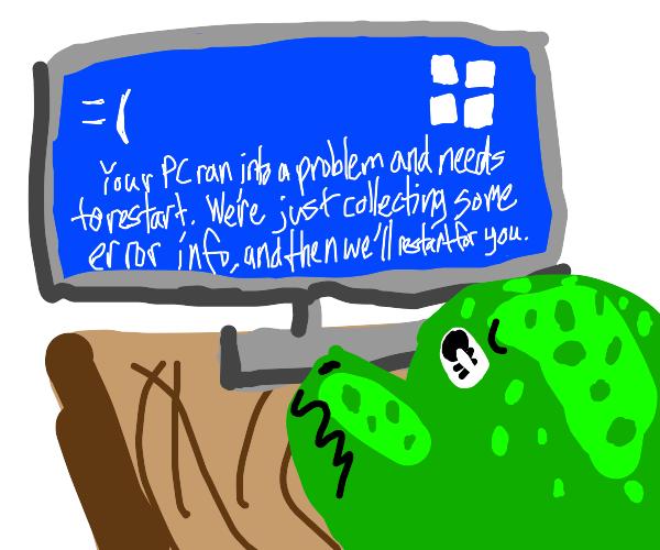 dinosaur looking at windows bluescreen