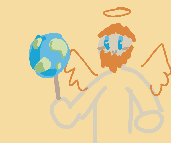 God with the world on a stick
