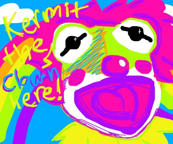 Kermit has a clown on