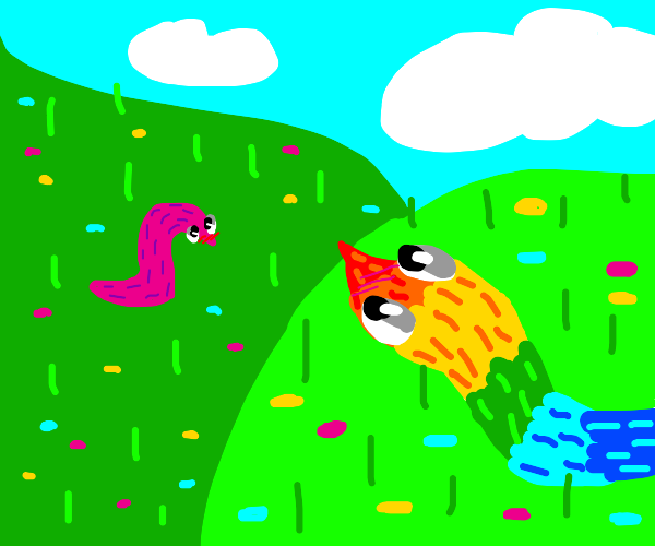 rainbow snake on hill; pink snake below