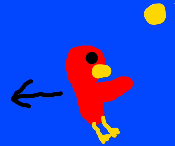 Bird defying its nature and flying backwards