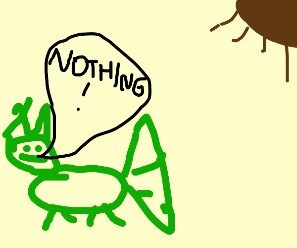 "Frog monster with wings says ""Nothing"""