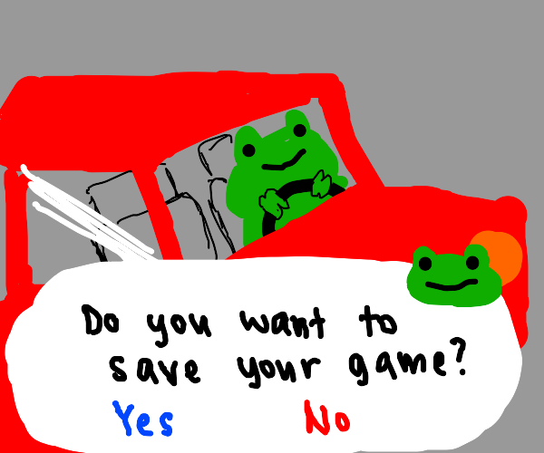 Frog in car asking if u want to save ur game