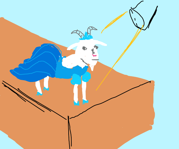 Goat in a blue dress on the runway