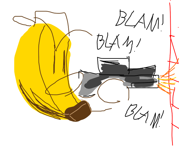 Banana shoots a wall