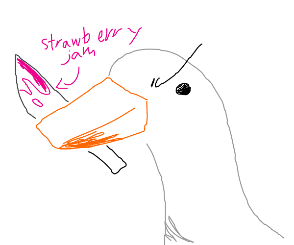 Untitled duck finished stabbing a jar of jam