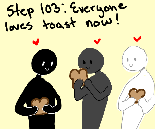 step 102: the hacker spams drawings of toast