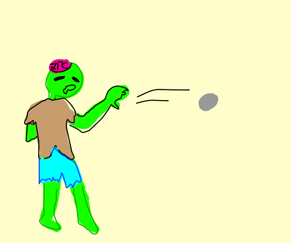 Zombie throwing a rock