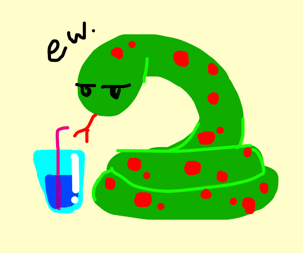 Snake doesn't like his drink