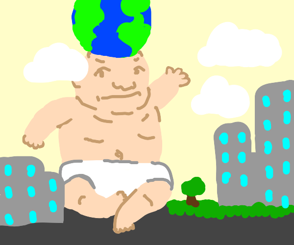 A globe on top of a giant baby