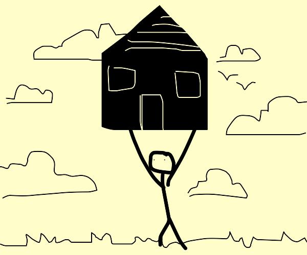 man lifts house