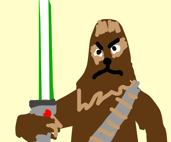 Chewbacca with a green lightsaber
