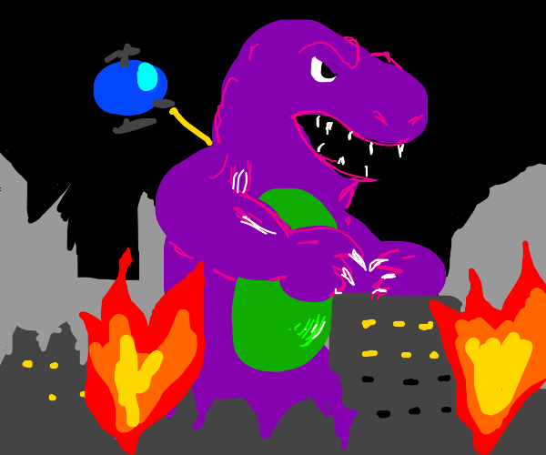 barney, filled with rage destroys the city