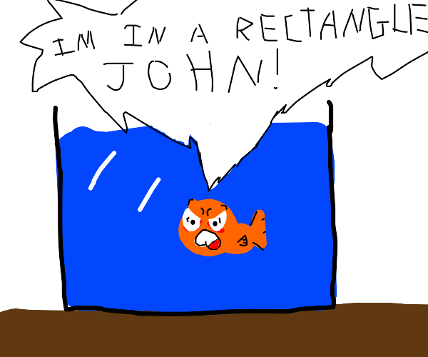 Fish in tank says he's in a rectangle to John