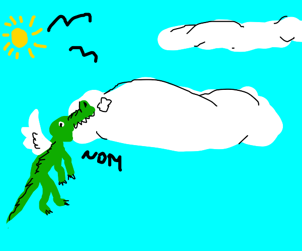 flying crocodile eats the clouds