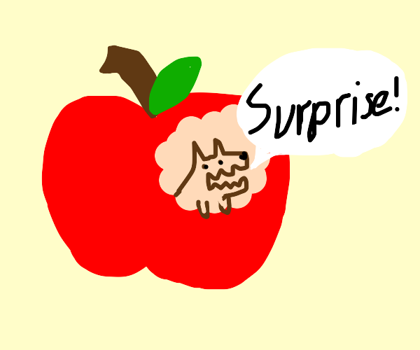 Wolf surprises you by popping out of apple