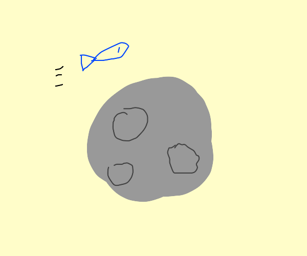 A fish jumping over the moon