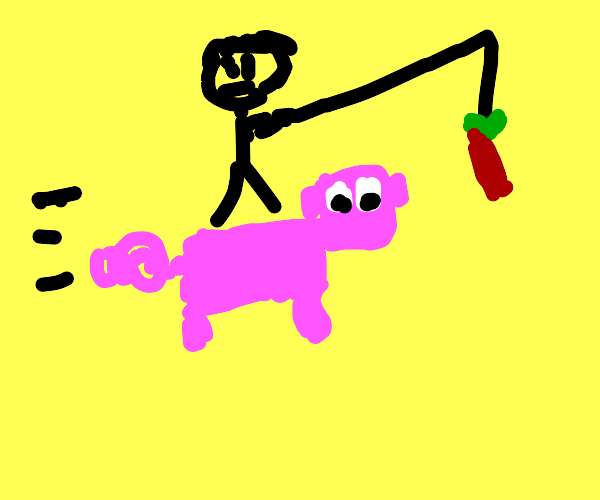 minecraft pig being lured by carrot on a stic