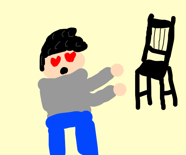 guy in love with a chair