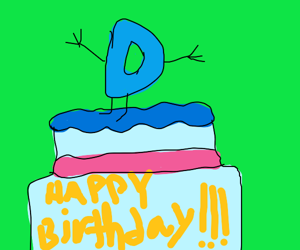 Giant birthday cake with Drawception D on top