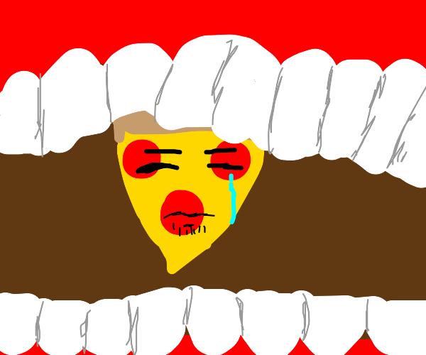Pizza boutta be eaten