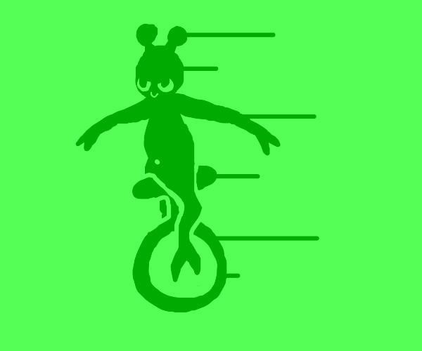 Alien confident on unicycle